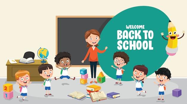 Illustration vectorielle des enfants à l'école Vecteur Premium