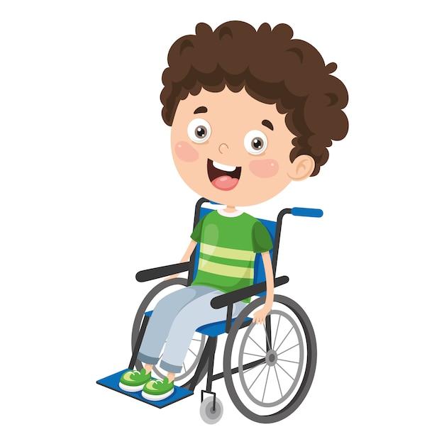 Illustration vectorielle des enfants handicapés Vecteur Premium