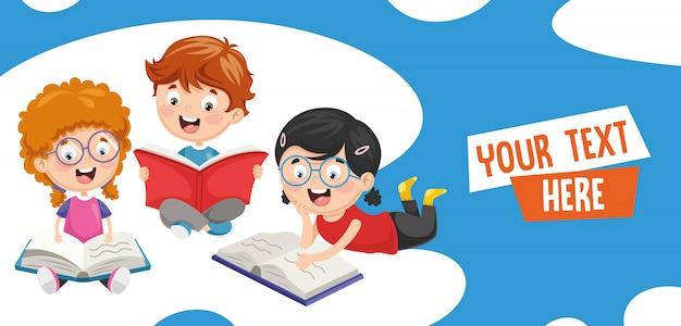 Illustration vectorielle des enfants heureux Vecteur Premium