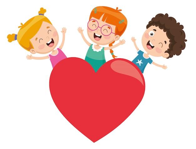 Illustration vectorielle des enfants jouant autour d'un coeur Vecteur Premium