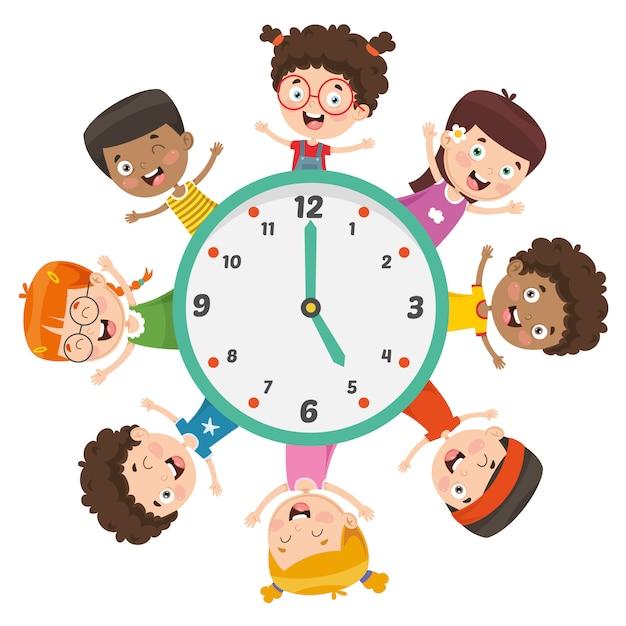 Illustration vectorielle d'enfants montrant le temps Vecteur Premium