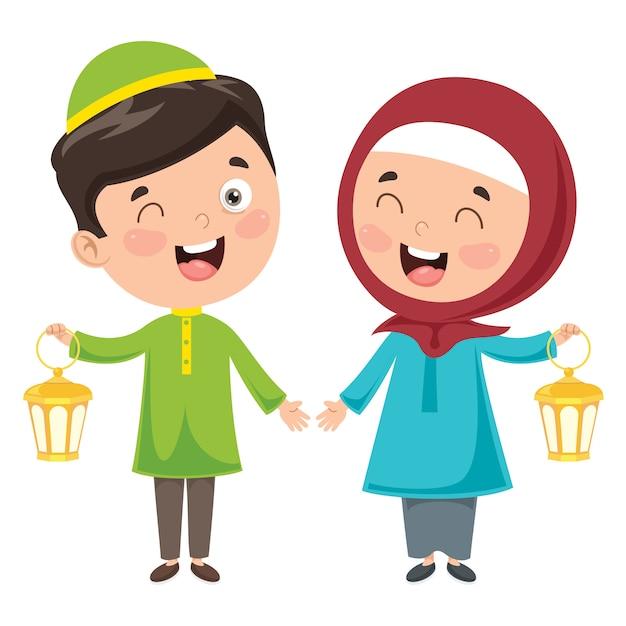 Illustration Vectorielle Des Enfants Musulmans Célébrant Le Ramadan Vecteur Premium