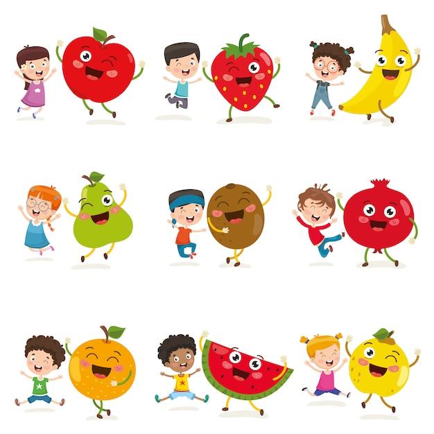 Illustration vectorielle des enfants et des personnages de fruits Vecteur Premium