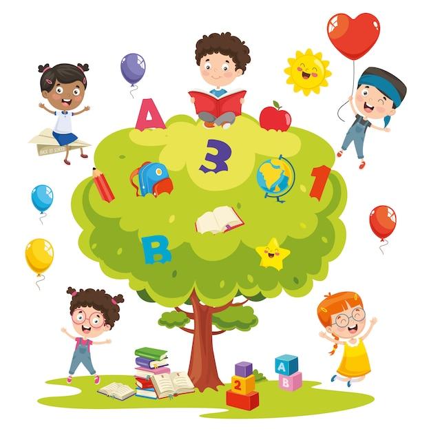 Illustration vectorielle des enfants qui étudient sur l'arbre Vecteur Premium