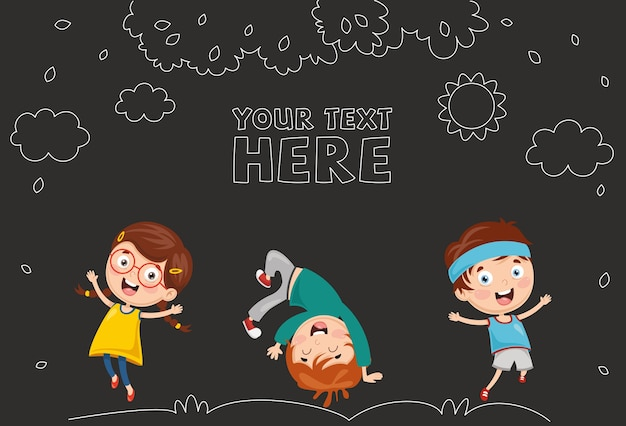 Illustration Vectorielle Des Enfants Qui Jouent Vecteur Premium