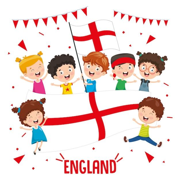 Illustration vectorielle des enfants tenant le drapeau de l'angleterre Vecteur Premium