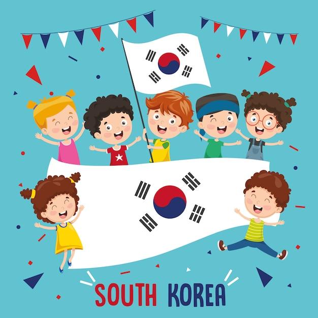 Illustration vectorielle des enfants tenant le drapeau de la corée du sud Vecteur Premium