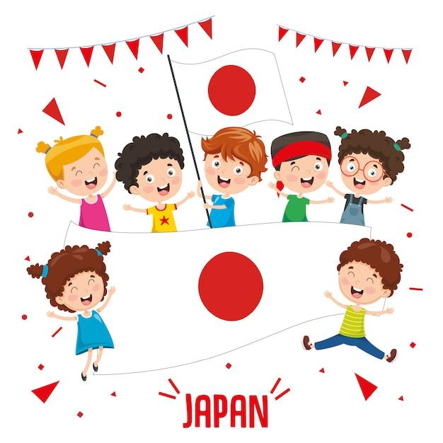 Illustration vectorielle des enfants tenant le drapeau du japon Vecteur Premium