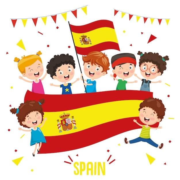 Illustration vectorielle des enfants tenant le drapeau de l'espagne Vecteur Premium