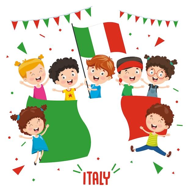 Illustration vectorielle des enfants tenant le drapeau de l'italie Vecteur Premium