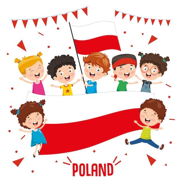 Illustration vectorielle des enfants tenant le drapeau de la pologne Vecteur Premium