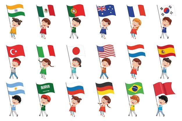 Illustration vectorielle des enfants tenant des drapeaux Vecteur Premium