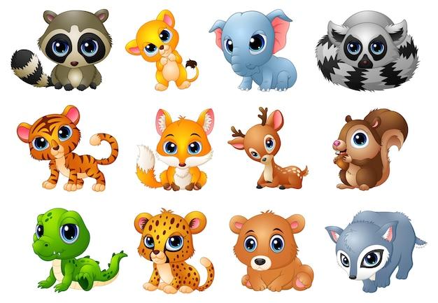 Illustration vectorielle de l'ensemble de dessin animé cute animals Vecteur Premium