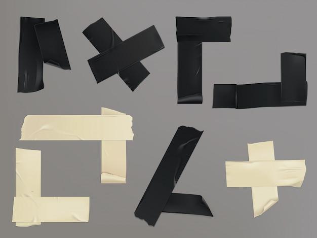 Illustration vectorielle ensemble de différentes tranches d'un ruban adhésif avec des ombres et des rides Vecteur gratuit