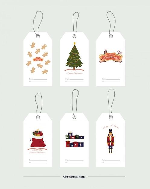 Illustration Vectorielle. Ensemble D'étiquettes De Cadeau De Noël Sur Blanc Vecteur gratuit