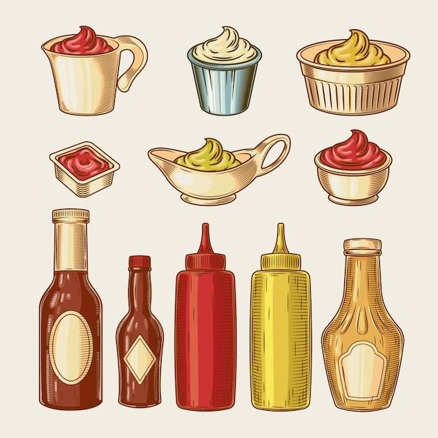 Illustration vectorielle d'un ensemble gravé de différentes sauces dans des casseroles et des bouteilles Vecteur gratuit