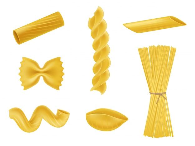 Illustration vectorielle ensemble d'icônes réalistes de macaronis secs, pâtes de diverses sortes Vecteur gratuit