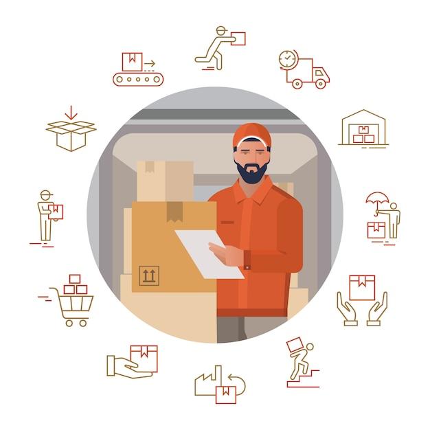 Illustration vectorielle avec un ensemble d'icônes sur le thème de la livraison avec l'image d'un livreur Vecteur Premium