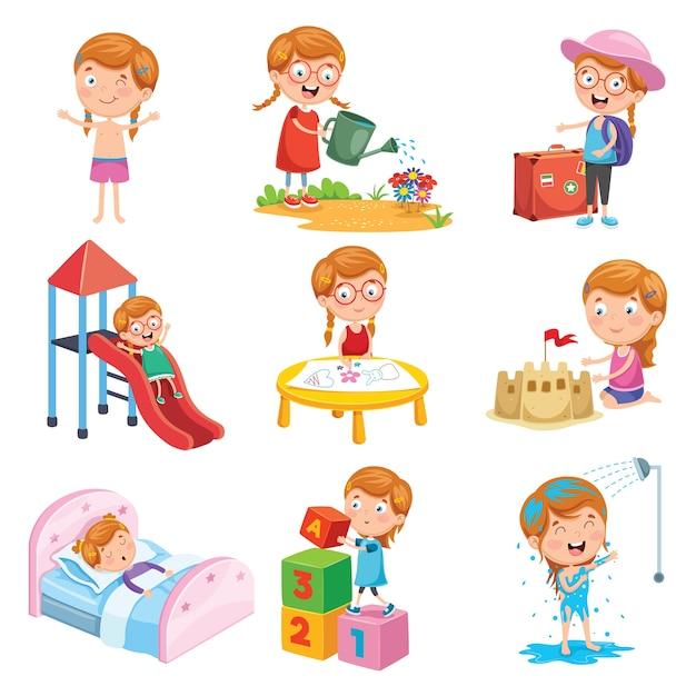 Illustration vectorielle ensemble de routines quotidiennes de petite fille Vecteur Premium
