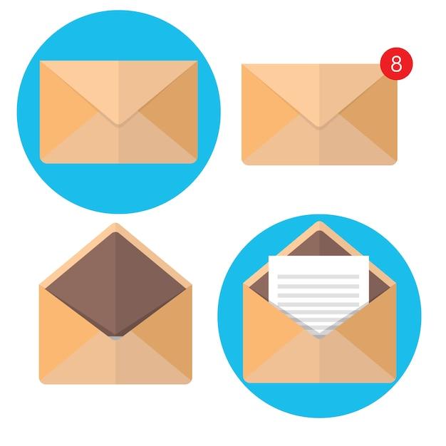 Illustration vectorielle enveloppe plate. emailing et communication globale. lettre. réseau social. Vecteur Premium
