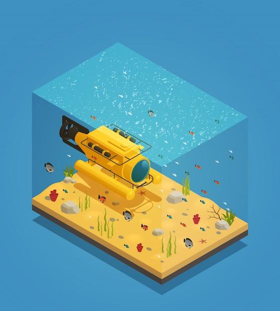 Illustration Vectorielle D'équipement Sous-marin Bathyscaphe Vecteur gratuit