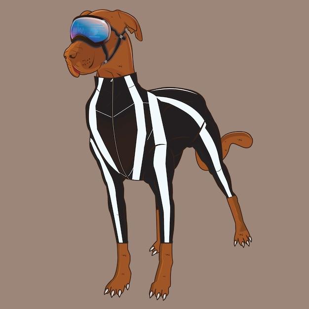 Illustration vectorielle de l'espace chien avec fond de couleur Vecteur Premium