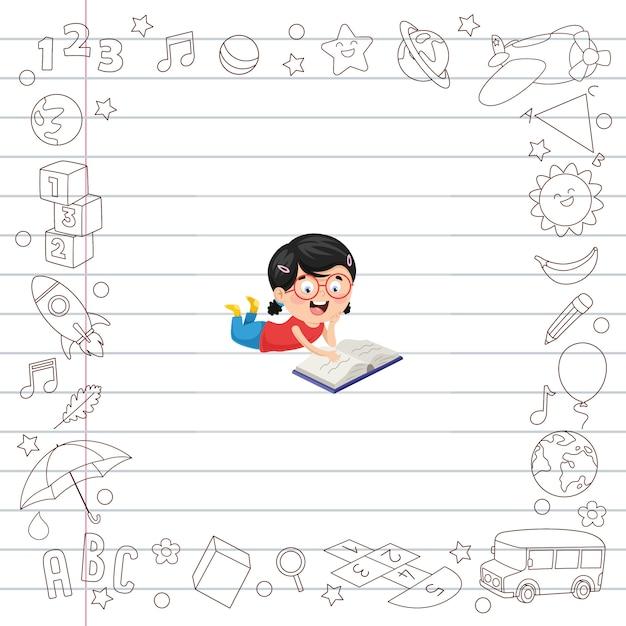 Illustration vectorielle d'étudiants en dessin animé Vecteur Premium