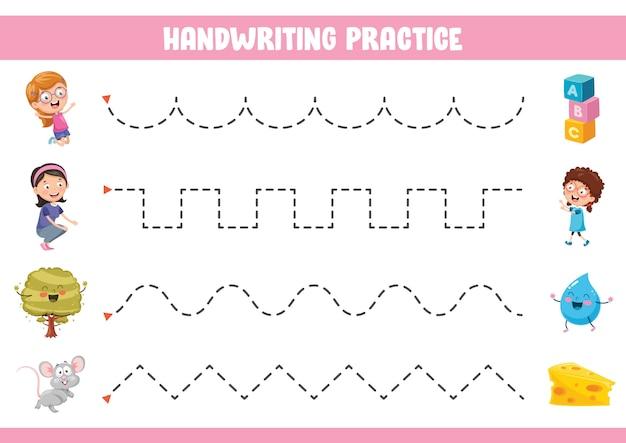 Illustration vectorielle de l'exercice d'écriture Vecteur Premium