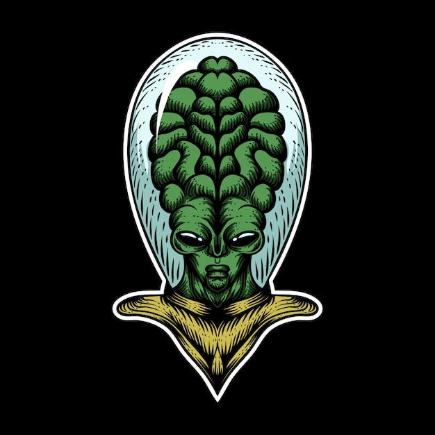 Illustration vectorielle extraterrestre grosse tête Vecteur Premium