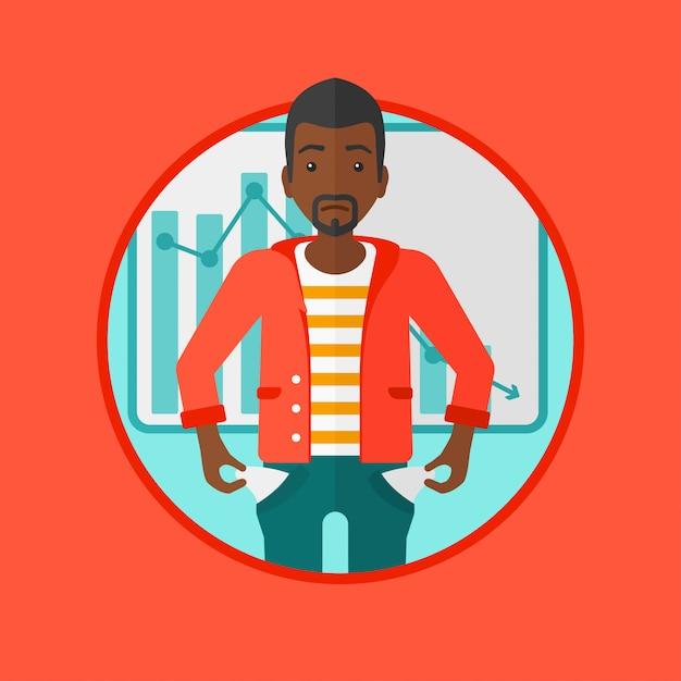 Illustration vectorielle de faillite homme d'affaires. Vecteur Premium