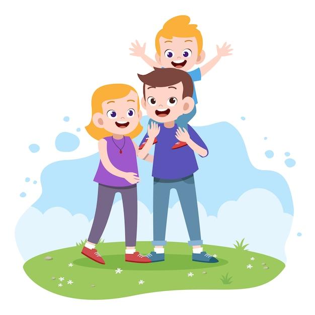 Illustration vectorielle famille heureuse Vecteur Premium