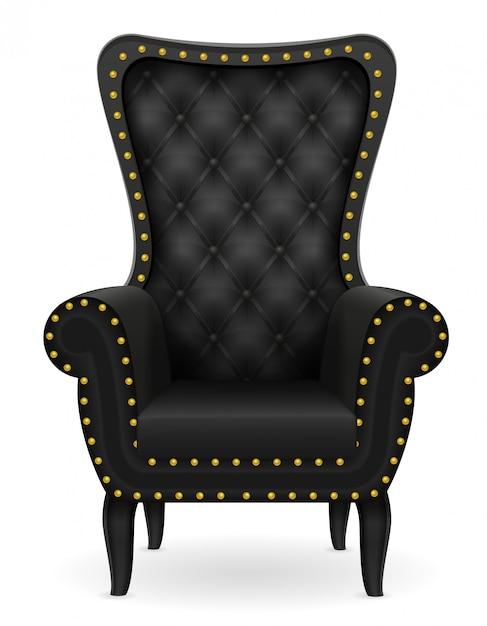 Illustration vectorielle de fauteuil noir mobilier Vecteur Premium
