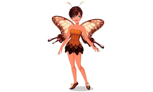 Illustration vectorielle de fée papillon mignon Vecteur Premium