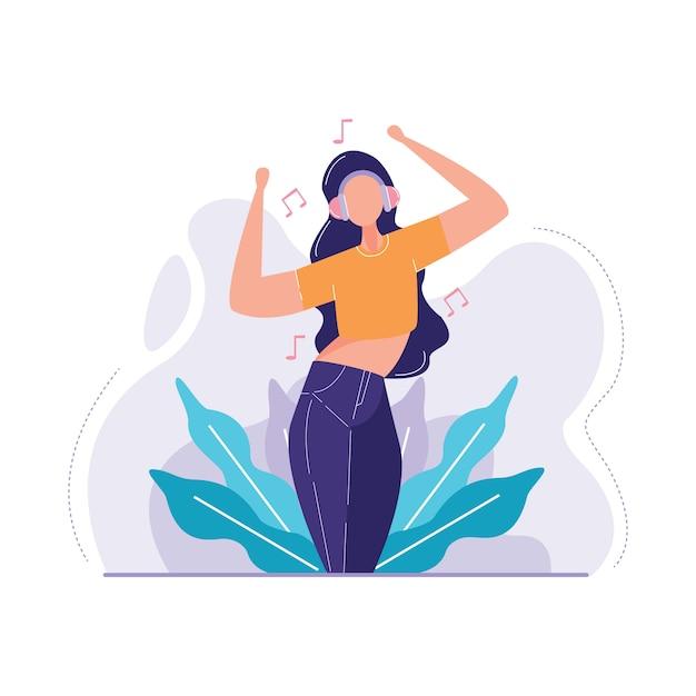 Illustration vectorielle de femme écoute musique Vecteur Premium