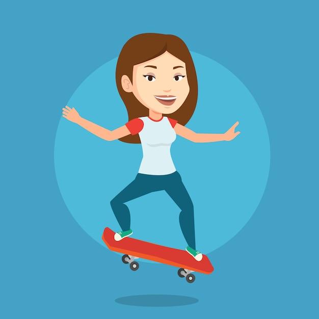 Illustration Vectorielle De Femme équitation Skateboard. Vecteur Premium