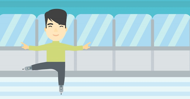 Illustration vectorielle de figure masculine de patineur. Vecteur Premium
