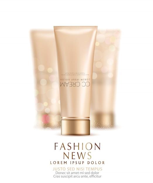 Illustration vectorielle: un flacon-tube en plastique réaliste avec ss-crème, deux tubes de crème flous. Vecteur Premium