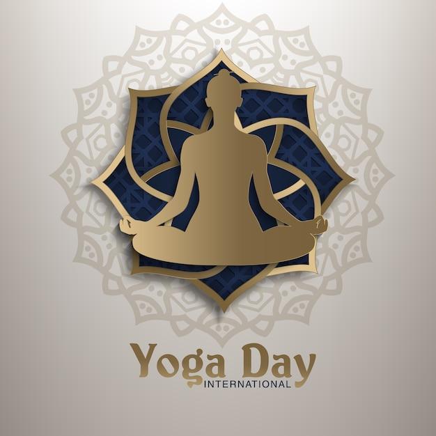 Illustration vectorielle de fond abstrait yoga jour Vecteur Premium