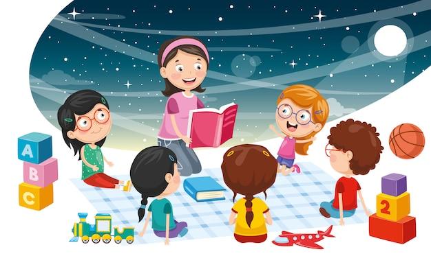 Illustration vectorielle de fond d'enfants étudiants Vecteur Premium