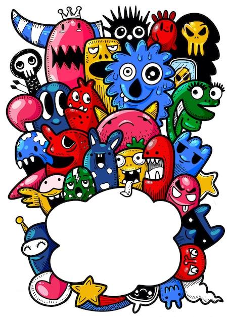 Illustration vectorielle de fond monstre mignon, dessin à la main Vecteur Premium