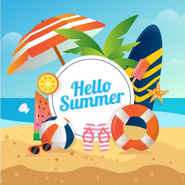 Illustration Vectorielle De Fond De Plage D'été Avec Des Lunettes De Volley-ball Planche De Surf Pour Les Médias Sociaux Vecteur Premium