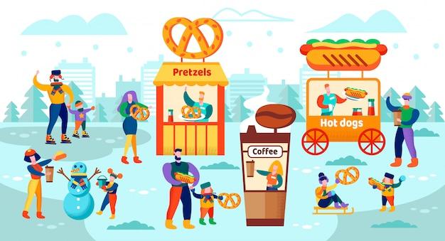 Illustration vectorielle food court sur la patinoire plate. Vecteur Premium