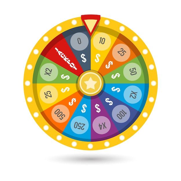 Illustration vectorielle de fortune chanceux jeu roue Vecteur Premium