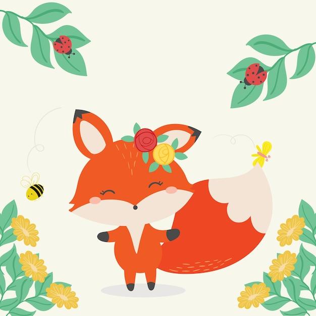 Illustration vectorielle de fox mignon. art dessiné à la main. Vecteur Premium