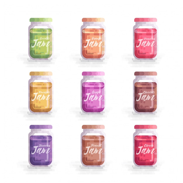 Illustration vectorielle de fruits confiture mason jar Vecteur Premium