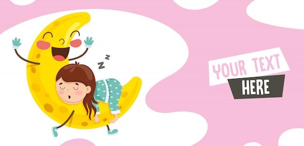 Illustration vectorielle de gamin dormant sur la lune Vecteur Premium