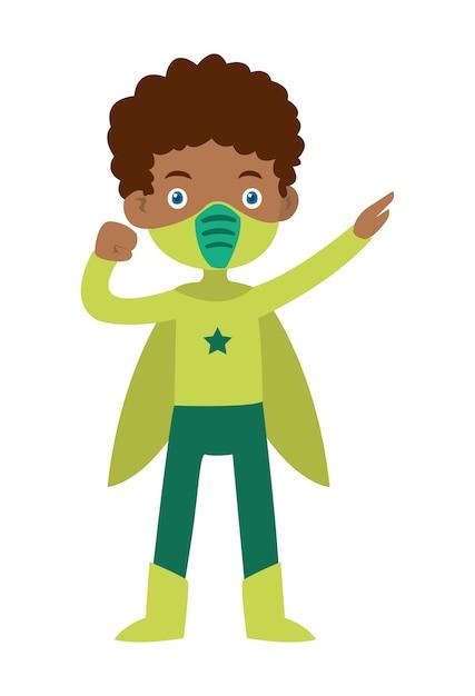 Illustration vectorielle de garçon africain avec les robes Vecteur Premium