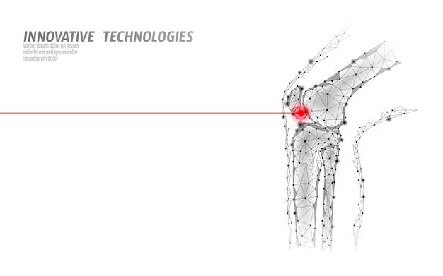 Illustration Vectorielle De Genou Humain Mixte Modèle 3d. Conception De Poly Faible Future Technologie Guérir Le Traitement De La Douleur. Vecteur Premium