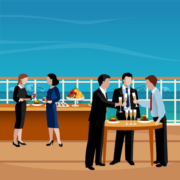 Illustration vectorielle de gens d'affaires plat couleur déjeuner Vecteur gratuit