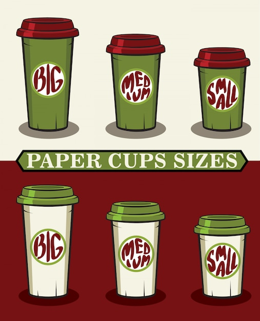 Illustration vectorielle de gobelets en papier pour le café pour aller Vecteur Premium